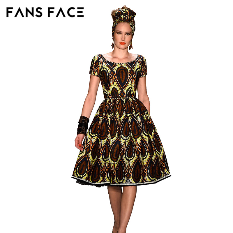 Fans face vintage african fabric dresses for women