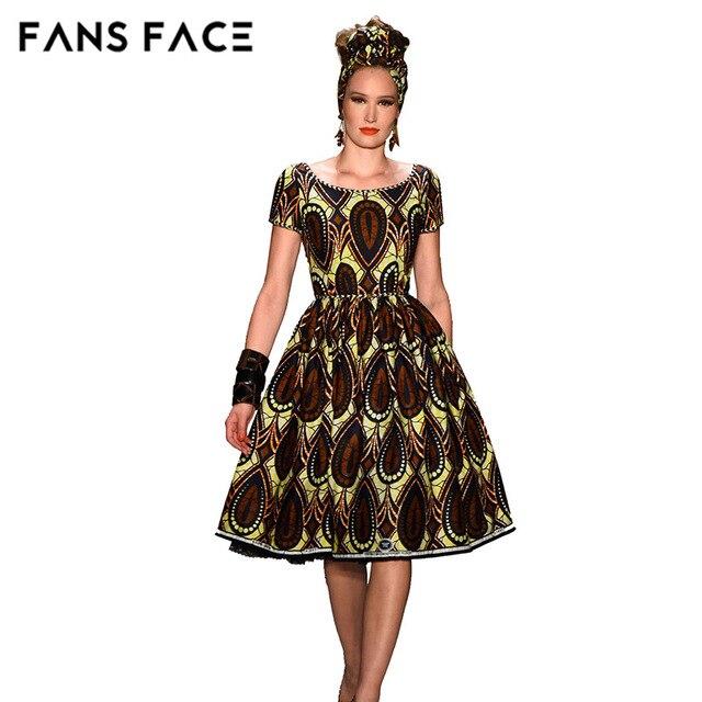6f05c5c63337 I FAN Vintage VISO Tessuto Africano Abiti Per Le Donne Del Ricamo Africano  Stampa Maxi Vestito