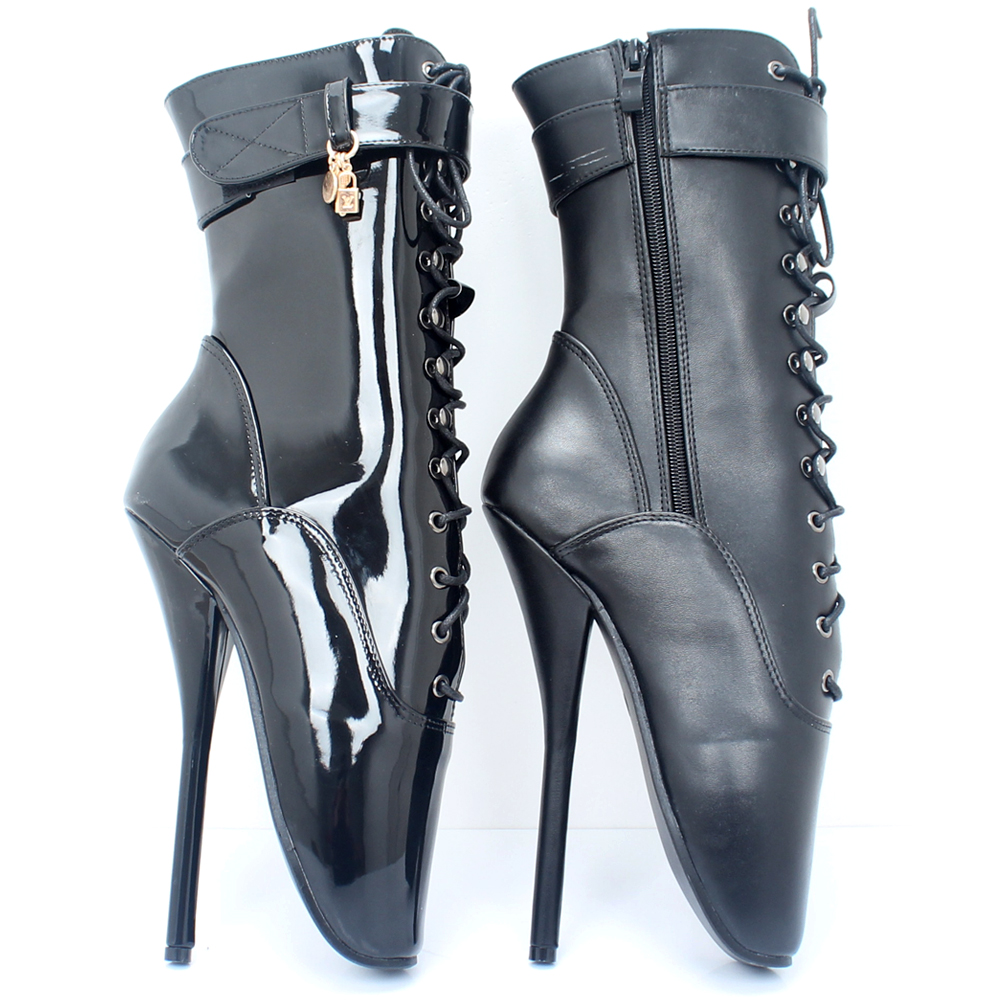 Jialuowei Ballet Boots High Heel Spike Black PU Cross Tied Lace Up - Zapatos de mujer - foto 6