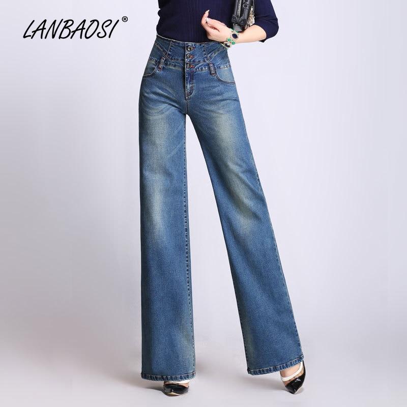 Denim a144 Palazzo Della Lavata Royal Signore Blu Ragazze Blue Cotone Blue High Jeans Pantaloni Donne Casuale Delle Mamma Lanbaosi Gamba Lake Dark Blue a146 rise Chiarore A142 Larga Rq5jL4A3