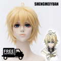 SHENGMEIYUAN New!Seraph Of The End Mikaela Hyakuya Short Blonde Anime Cosplay Wig Owari no Seraph Hyakuya Mikaela Synthetic hair