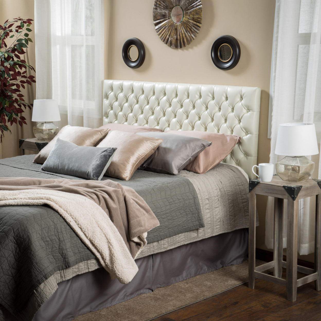 Denise Austin Home Wyoming Queen/Full Button Tufted Fabric Headboard - Ivory denise agosdane
