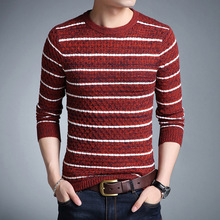 New Arrival Casual Computer Knitted O-neck Full Sleeve Pullovers Man Fashion Mens Striped Sweater Male Slim For Man