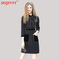 Black Brief Luxury Cultivate Dress 2017 Autumn Winter High End Exquisite Bow Pearls Diamonds Beading Women