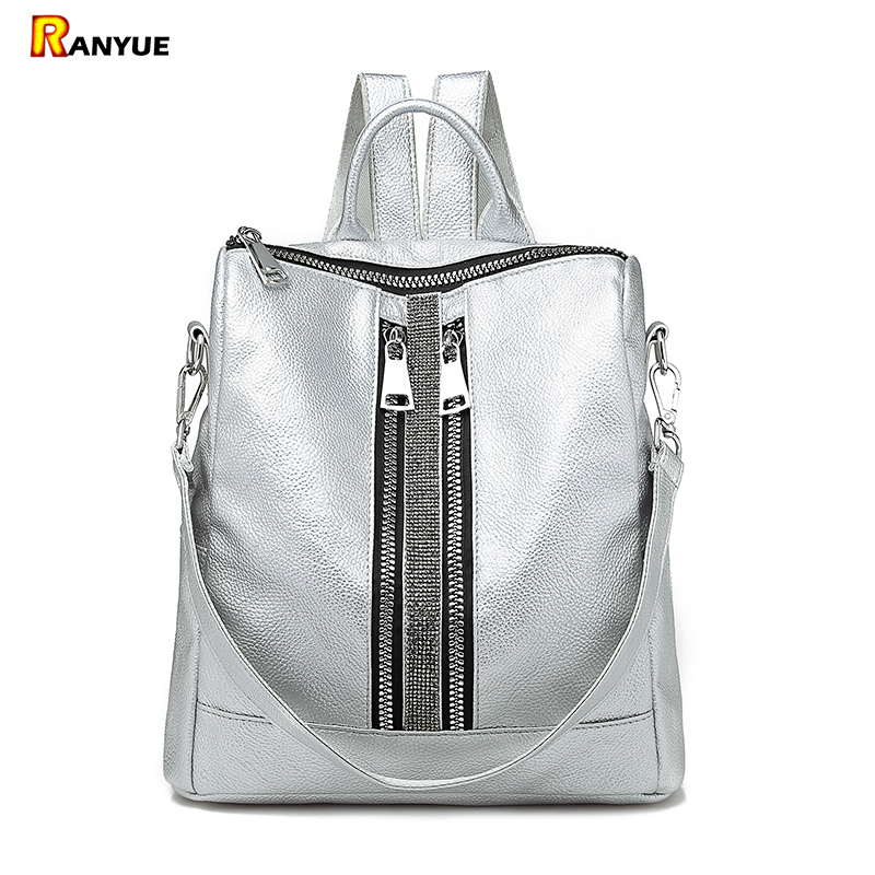 Casual Double Zipper Backpack Women Shoulder School Bags For Teenage Girls Big Silver White Black Women Backpack Leather Mochila