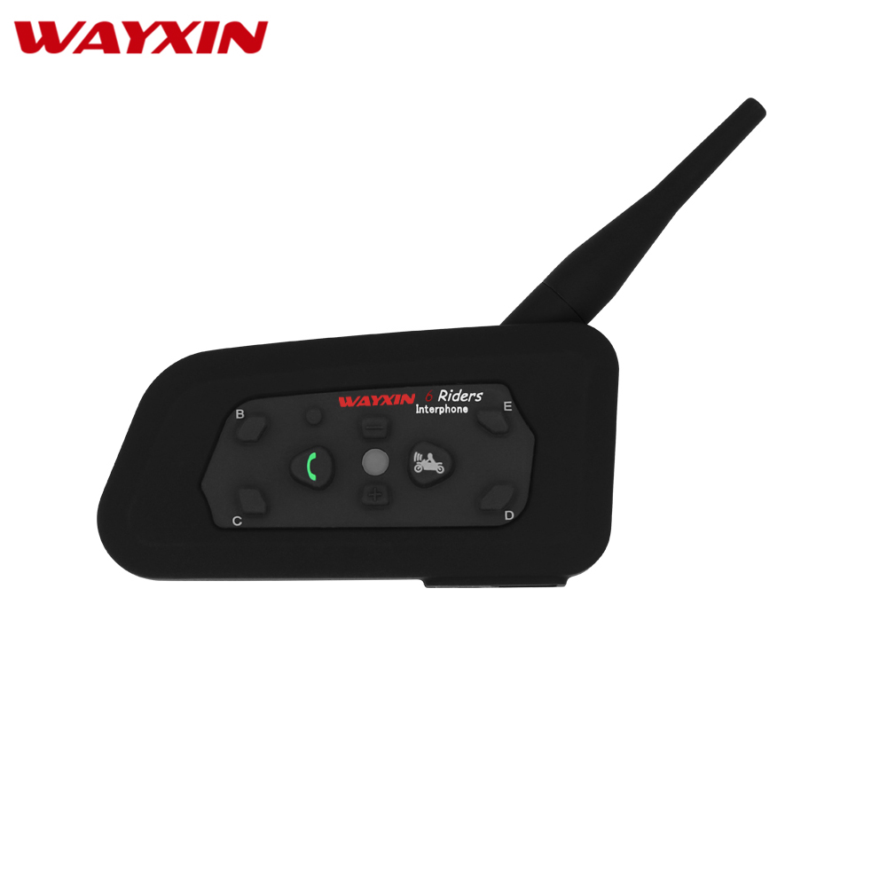 WAYXIN R6 Intercom Helmet Bluetooth Headset Motorcycle Communication Intercom 6 Riders Interphone Speaker MP3 GPS  Bluetooth(China)