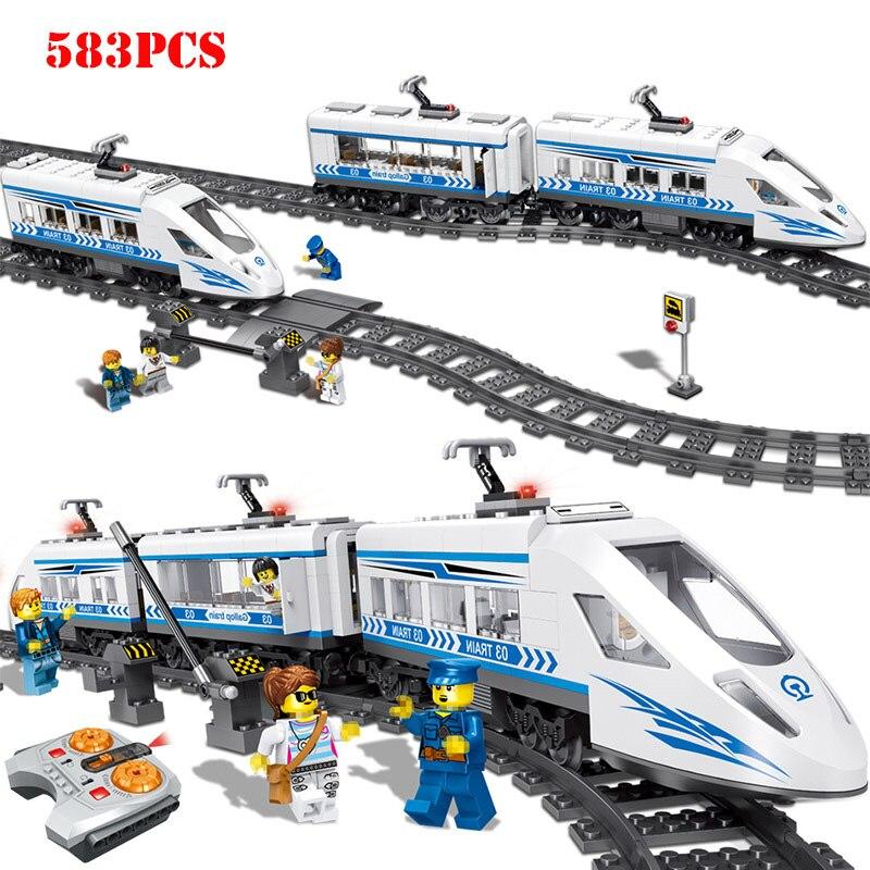 Blocs de construction de série de chemin de fer de ville de technologie de RC compatibles Legoings jouets de briques de Train de gare de contrôle à distance pour des enfants