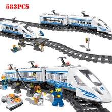 RC Technic City Railway Series строительные блоки, совместимые с legorreta, радиоуправляемая станция, железнодорожные кирпичи, игрушки для детей