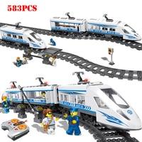 RC Technic City Railway Series Building Blocks Compatible legorreta Remote Control Station Rail Train Bricks Toys For Children