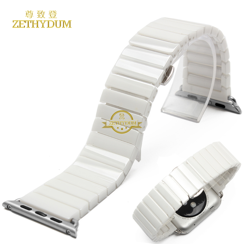 Smart bracelet 100 Ceramic watchband for apple watch 38mm 42mm wristwatches strap with linker watch accessories