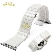 Умный браслет 100% Керамический ремешок для apple watch 38 мм 42 мм наручные часы ремешок с компоновщик часы аксессуары водонепроницаемый
