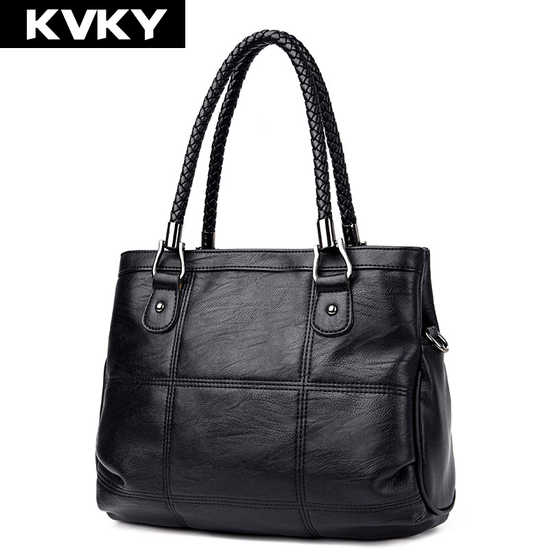 цены на KVKY Brand Fashion Women Handbags PU Leather Woman Large Shoulder Bags Female Messenger Bag Casual Tote Bag Bolsa Feminina в интернет-магазинах