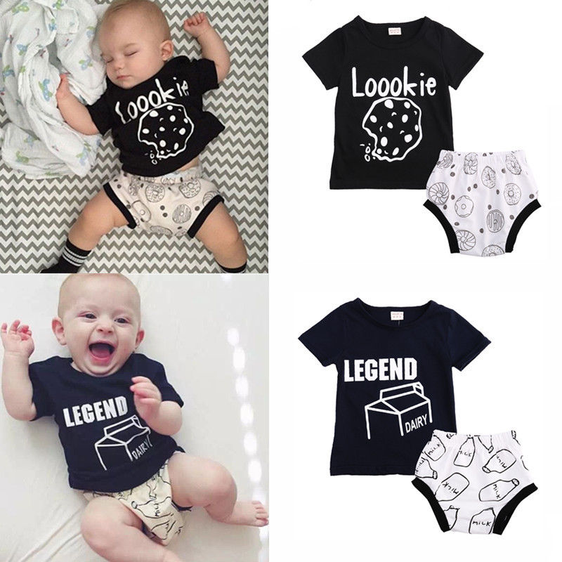 2pcs Newborn Toddler Infant Baby Boy Girl Clothes T-shirt Tops+Pants Outfits Hot 0 24m newborn infant baby boy girl clothes set romper bodysuit tops rainbow long pants hat 3pcs toddler winter fall outfits