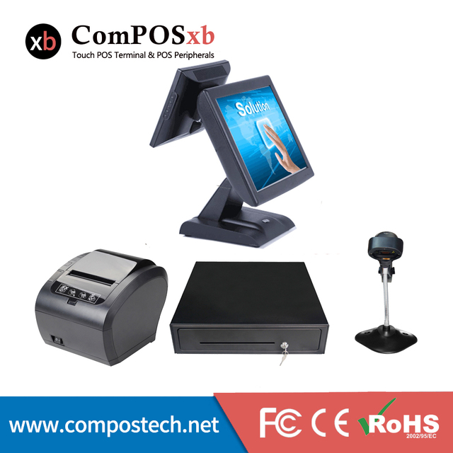 Big Sale Supermarket retail screen pos system second display all in one touch cash register with Printer+barcode scanner + cash drawer