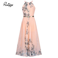 2017 Summer Women Dress Chiffon Floral Print Halter Tunic Sleeveless Pleated Long Maxi Party Boho Dresses With Belt Vestidos
