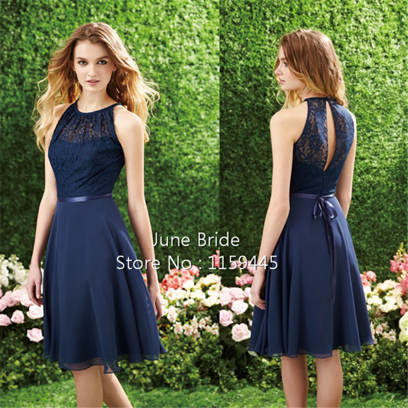Us 89 0 Short Navy Blue Bridesmaid Dresses Cutout Back Lace Chiffon Knee Length Wedding Guest Gown Cheap Beach Maid Of Honor Dress Gowns In
