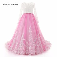 Vinca Sunny 2018 Long Sleeve Flowers Girls Dresses A Line Lace Appliques Kids Evening Dress Holy