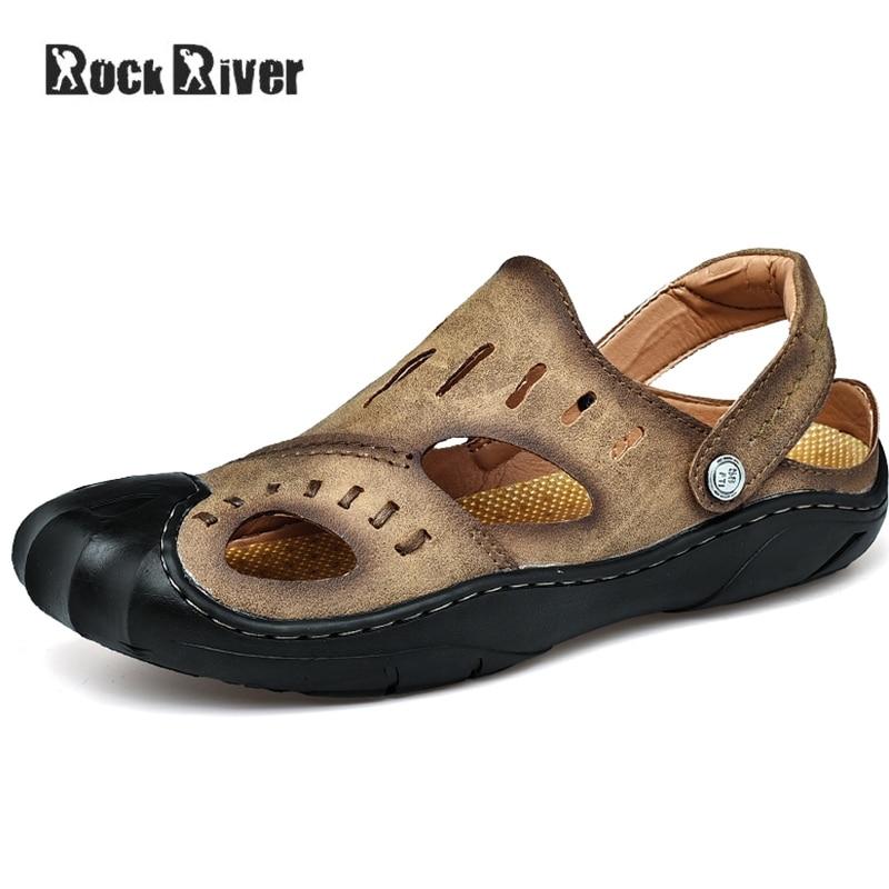 2018 Fashion Genuine Leather Sandals Men Breathable Mens Sandals Summer Casual Outdoor Beach Sandals Clogs Men Rubber Sole