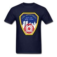 Ronde Kraag T-shirt Kleurrijke New York Fire Afdeling Katoen Apearl Pinted Met Heathy Inkt shirts voor heren