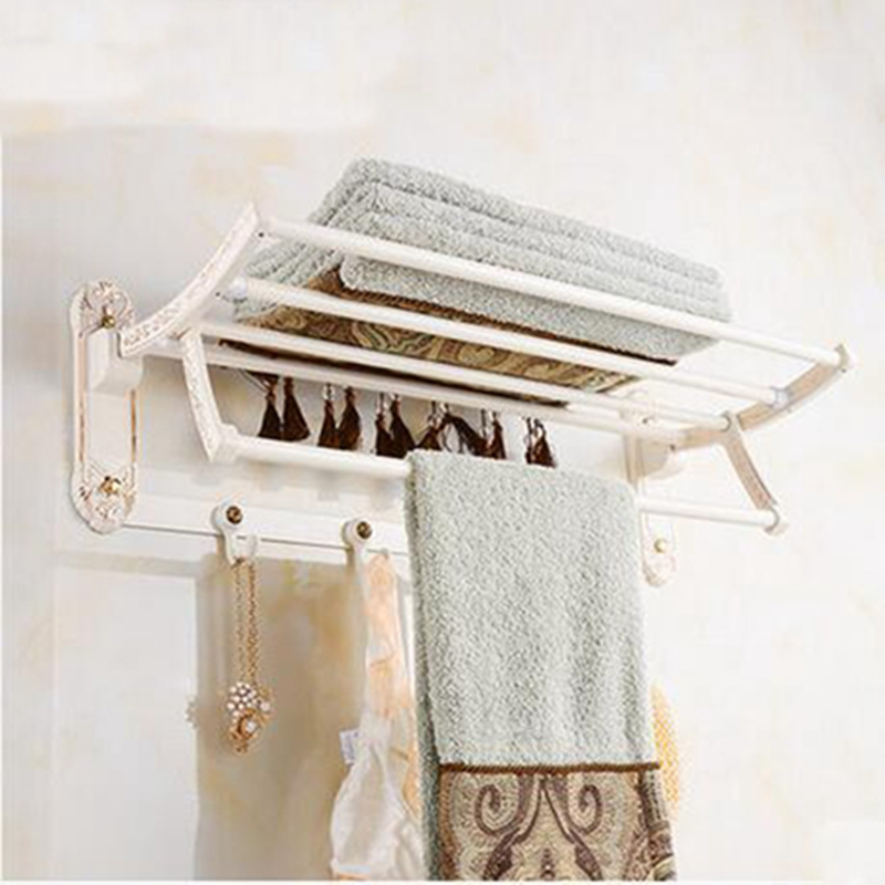 Wholesale And Retail Flower Carved White Painting Bathroom Towel Rack Shelf Towel Bar W/ Hooks Hangers Wall Mounted