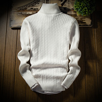 New High Quality Slim Twist Sweater Knitting Autumn Winter Men's Turtleneck Sweater Jumpers Pullover Sweater Men Solid M 3XL