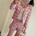 Small fragrant wind coat shorts suit Autumn and Winter Korean women fashion plaid woolen jacket coats Slim shorts 2 pcs sets
