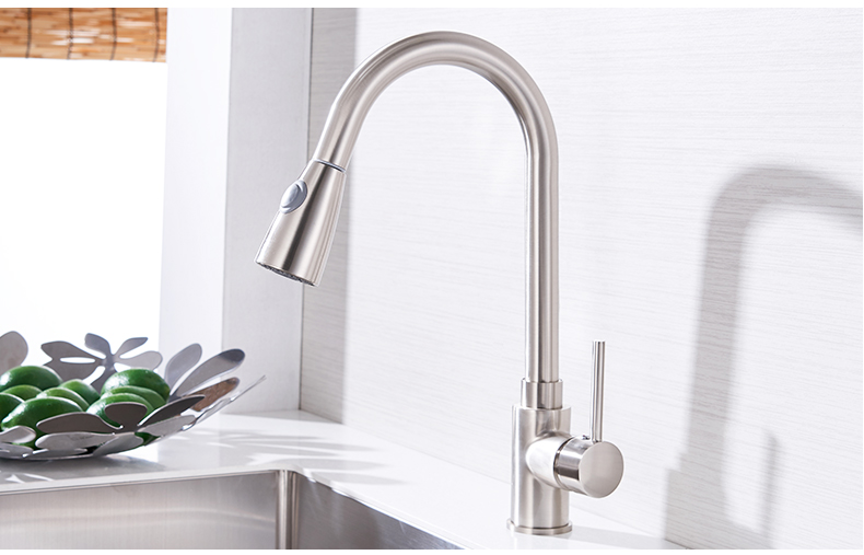 Kitchen Faucets Silver Single Handle Pull Out Kitchen Tap Single Hole Handle Swivel 360 Degree Water Mixer Tap Mixer Tap 408906 18