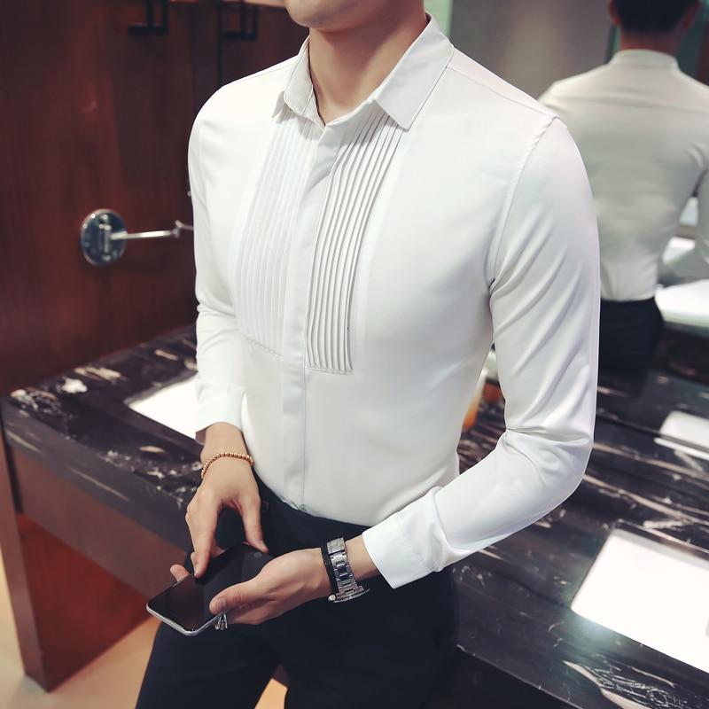 2019 Men's Slim Fashion Shirt Wedding Party Long-sleeved Tuxedo Shirt Solid Color Classic Men's High-end Shirt Large Size M-5XL
