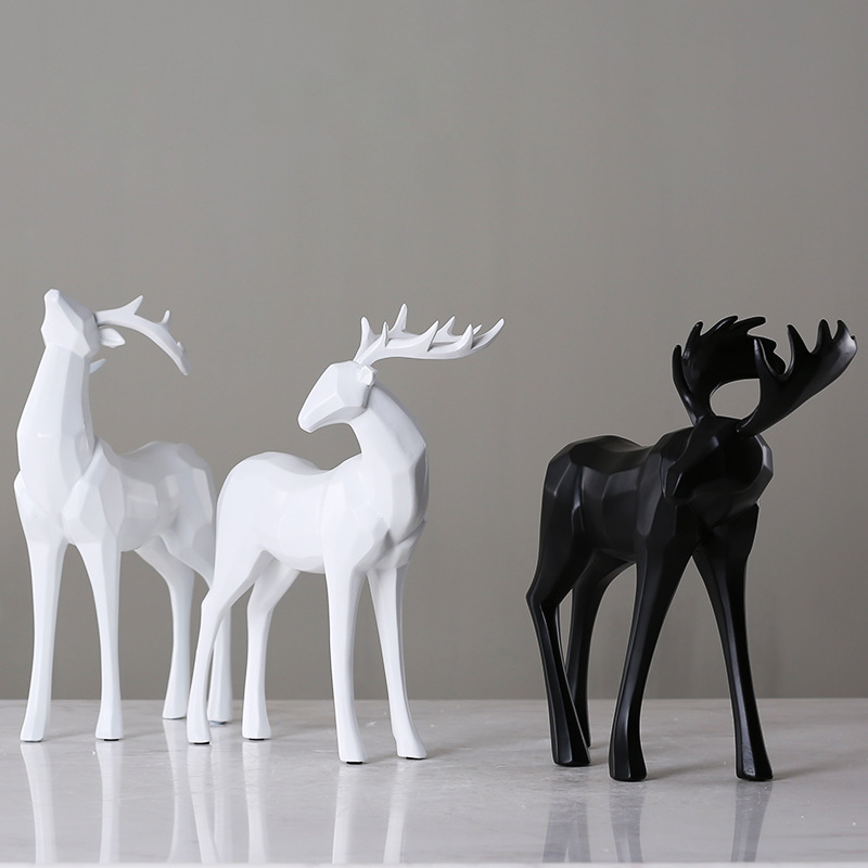 American Rural Resin black and white resin Elk Ornament Home Decoration European animal Bucks Crafts Gifts