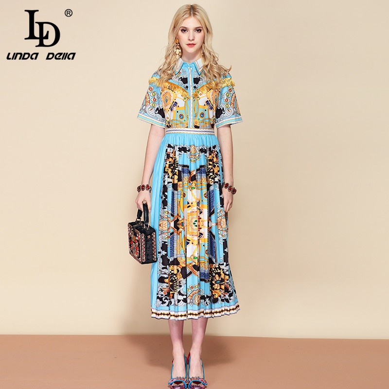 LD LINDA DELLA 2019 Fashion Designer Summer Holiday Dress Women s A Line Gorgeous Printed Tassel