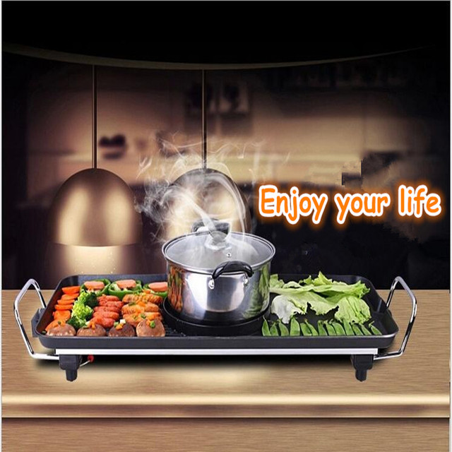 2100W Multifunctional Electric Grill BBQ Pan With HotPot  Smokeless Non-stick Electric Oven For Commercial And Household