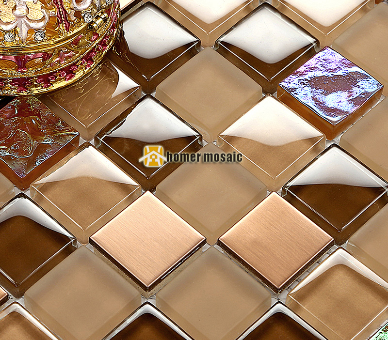 Brown color glass mosaic tile EHMB1449 for kitchen