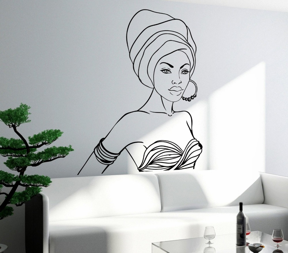 Sexy black girl wall sticker black beautiful african girl teen sexy black girl wall sticker black beautiful african girl teen woman mural wall decal hair beauty salon decor bedroom decoration in wall stickers from home amipublicfo Gallery