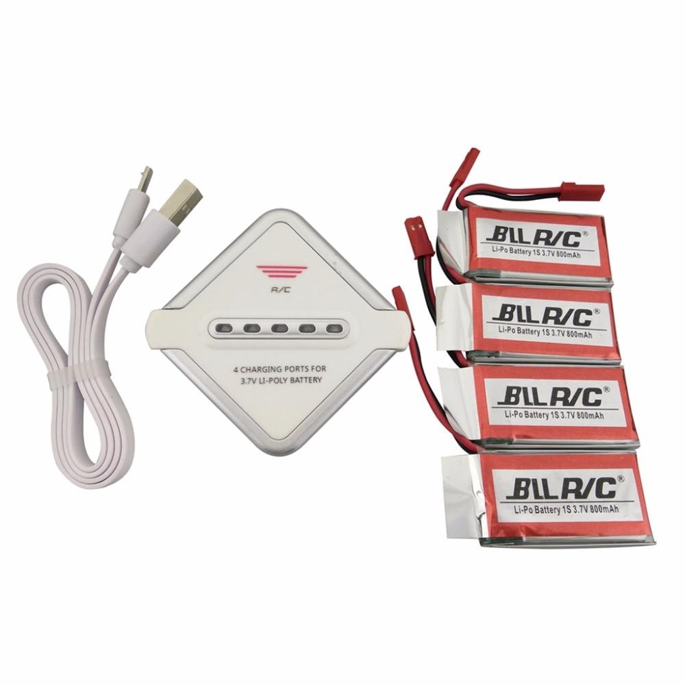 4PCS 3.7V 800mah Lithium Battery + 1 Charger 4 for MJX X400 X400W X800 X300C Sky Viper S670 V950HD V950str HS200W spare parts remote control aircraft uav small monster mjx b3 battery 2pcs 7 4v 1800mah lithium battery and 2 in 1 charger xt30