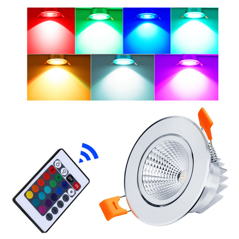 LED Downlight RGB 5w 10w 15w LED Panel Light Concealed Recessed Ceiling Lights With Remote Control Bedroom KTV Hotel Corridor