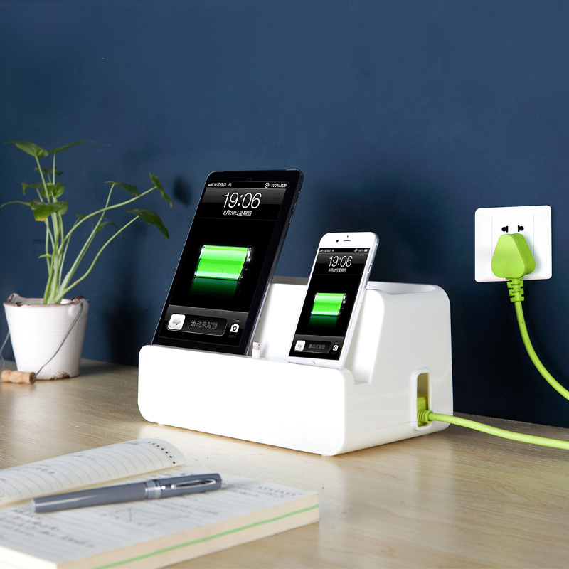 Desktop Mobile Charging Station Powder Strip Organizing
