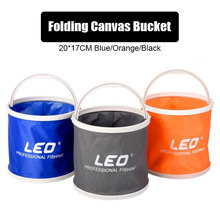 Folding Canvas Folding Bucket 6L Fishing Tool 20cm x 19cm Black Blue Orange Super Light Bucket Scalable Portable Fishing Gear folding thickened fishing bucket fish protection outer bucket multi function fishing barrel fishing gear