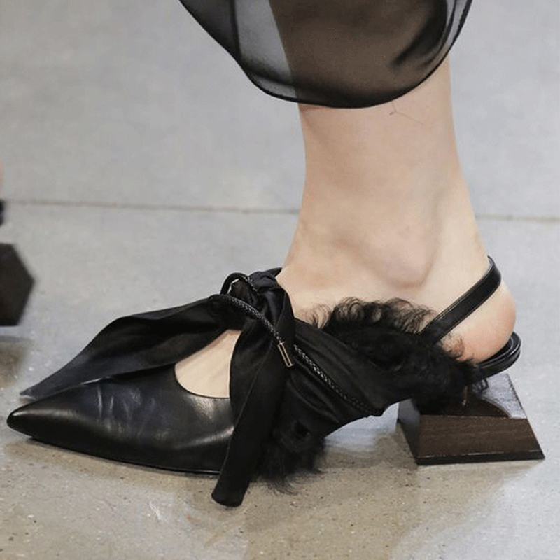 Knsvvli Shaped wood square heel Party shoes Women Genuine leather Silk Bow tied Point toe Runway