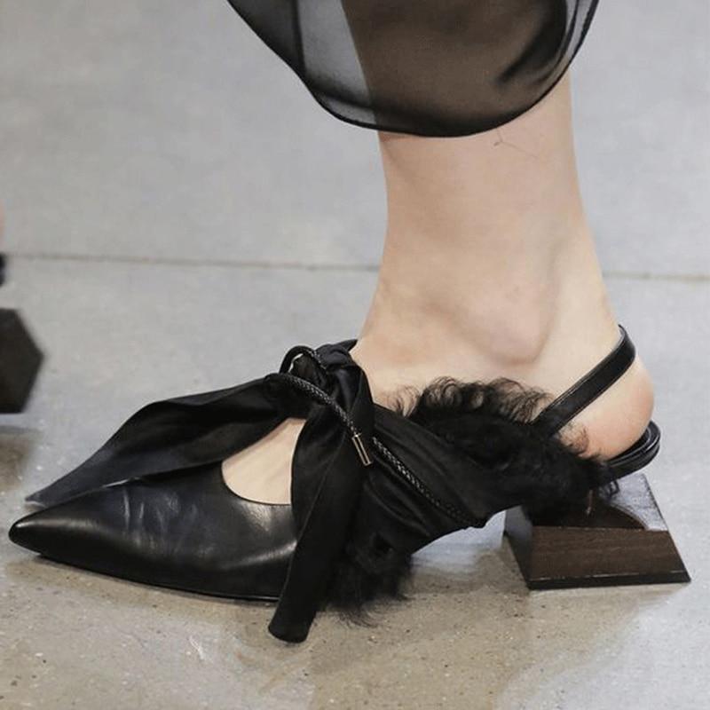 Knsvvli En bois En Forme de carré talon chaussures de Soirée Femmes en cuir Véritable Soie Noeud noué bout pointu Piste Chaussures spécial femme Slingbacks