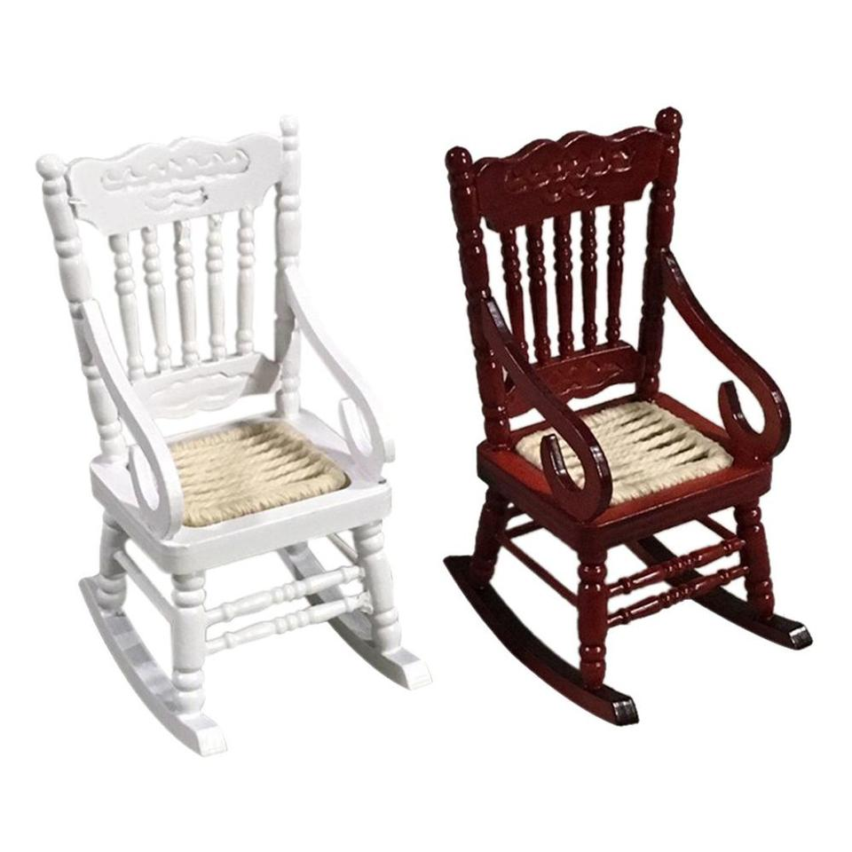 New 112 Dollhouse Miniature Furniture White Wooden Rocking Chair Hemp Rope Seat For Dolls House Accessories Decor Toys Ff4