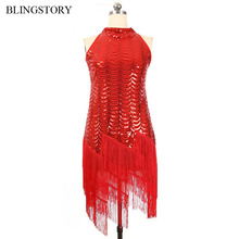 BLINGSTORY Europe Women Brand Sequined Side Zipper Tassel Summer Off Shoulder Red Fringed Flapper Dress Drop-ship KR4005