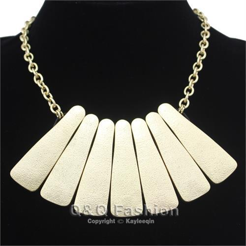 Fashion jewellery cleopatra style gold colour woven chain mail choker necklace