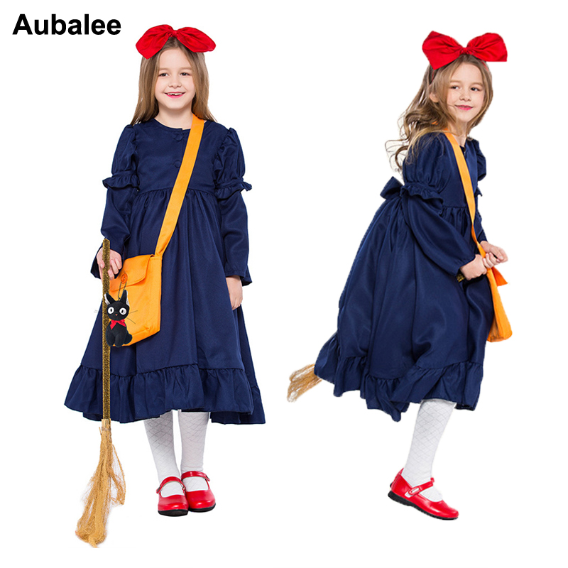 Kikis Delivery Service Cosplay Girls Magic Costume Kids Adult Janpan Anime Dress Cute Halloween Party Costumes For Women Child
