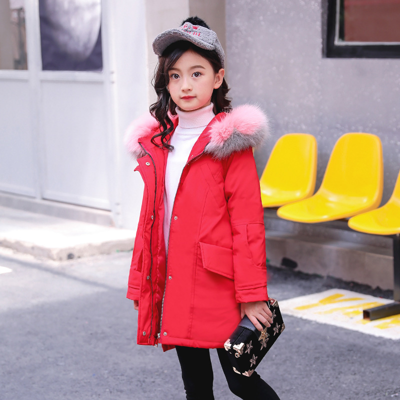 2018 Fur Hood Jacket for Girls Children Snow Wear Parka Thick Down Coats Winter Jacket for Children Christma Winter Coat 2018 fur hood jacket for girls and boys winter coat children snow wear parka thick cotton padded winter jacket for kids