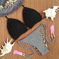 2016 Women Vintage Summer Bikini Sexy Crochet Bikini Black Top Swimwear Knitted Bikinis Swimsuit Handmade Knitting