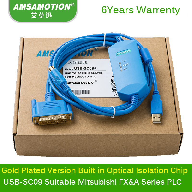 USB-SC09+ Built-in Isolation Chip Programming Cable Suitable Mitsubishi FX&A Series PLC Download cable professional honest and fx series plc cable a900 touch screen fx9gt cab0