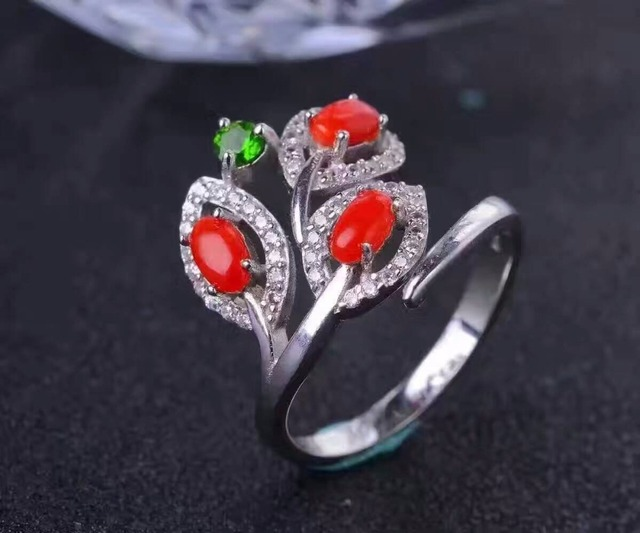 Hotsale solid 925 silver ring adjustable size 3pcs 3*5mm natural red coral ring for woman fashion precious coral silver jewelry