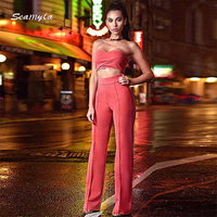 2016 New Fashion Winter Women Bandage Bodysuit Two Piece Set Sexy Strapless Top Full Pants Lady