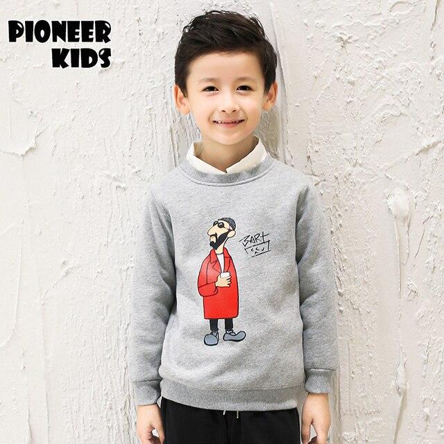 Pioneer Дети 2016 Новых Зимней Моды Плюс бархат Толстовки Мальчики С Длинным рукавом Пуловеры Теплые Дети пальто мальчиков верхняя одежда одежда 6T857