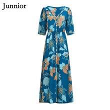 Junnior Boho Floral Print Women Maxi Dress V Neck Beach Dress Female Spring and Summer Blue Half Sleeve High Waist Dresses sky blue half sleeve maxi dress